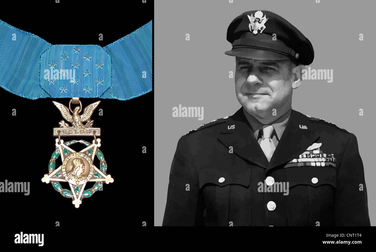Digitally restored vector photo of General James Doolittle, an American aviation pioneer and Medal of Honor recipient. - Stock Image