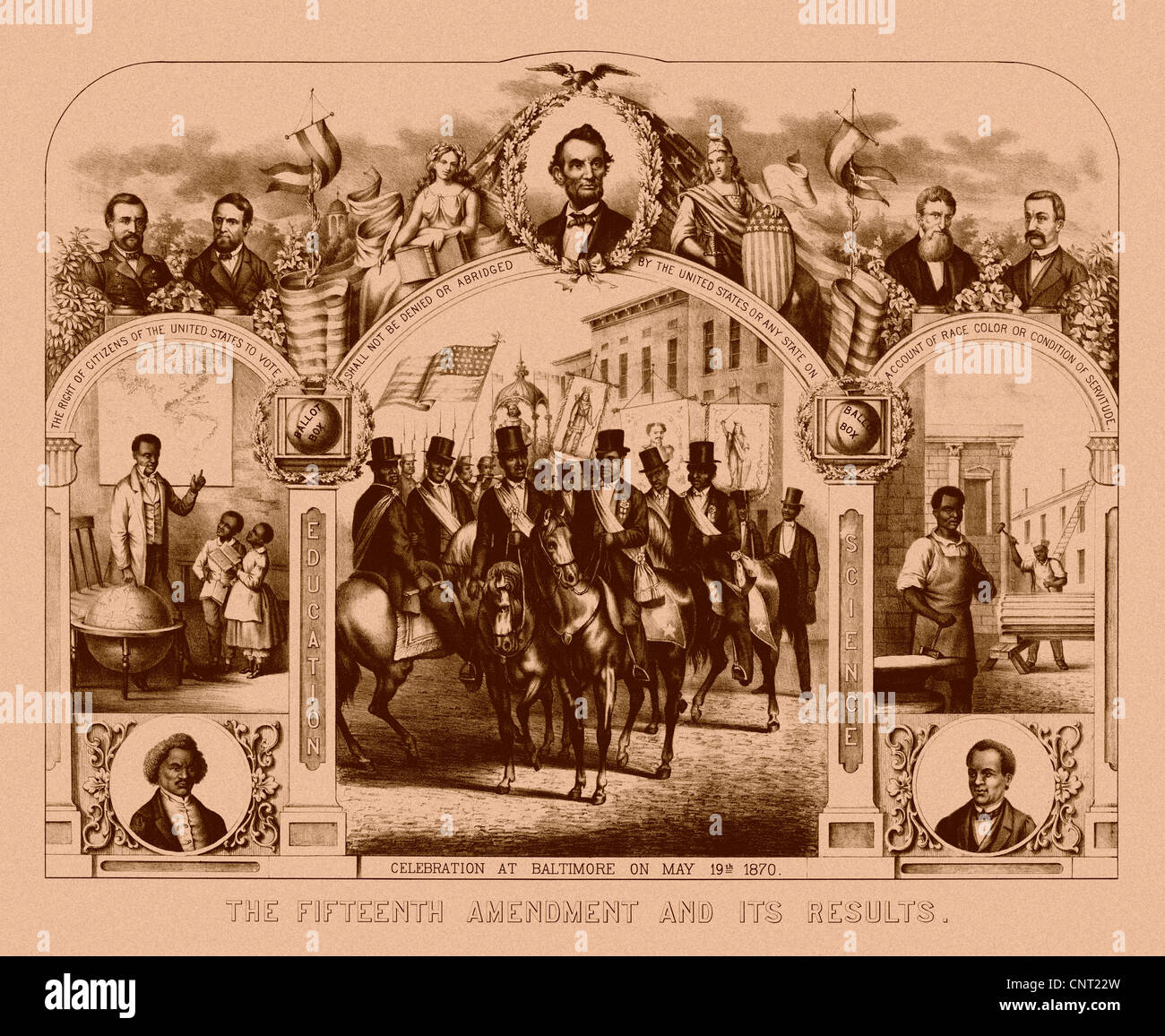 Digitally restored Civil War print of The Fifteenth Amendment And Its Results. - Stock Image