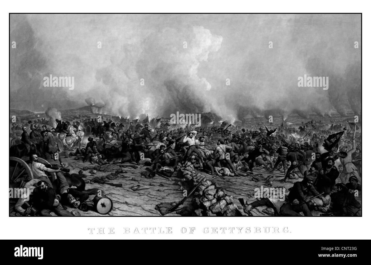 Digitally restored vintage Civil War print of the Battle of Gettysburg. - Stock Image