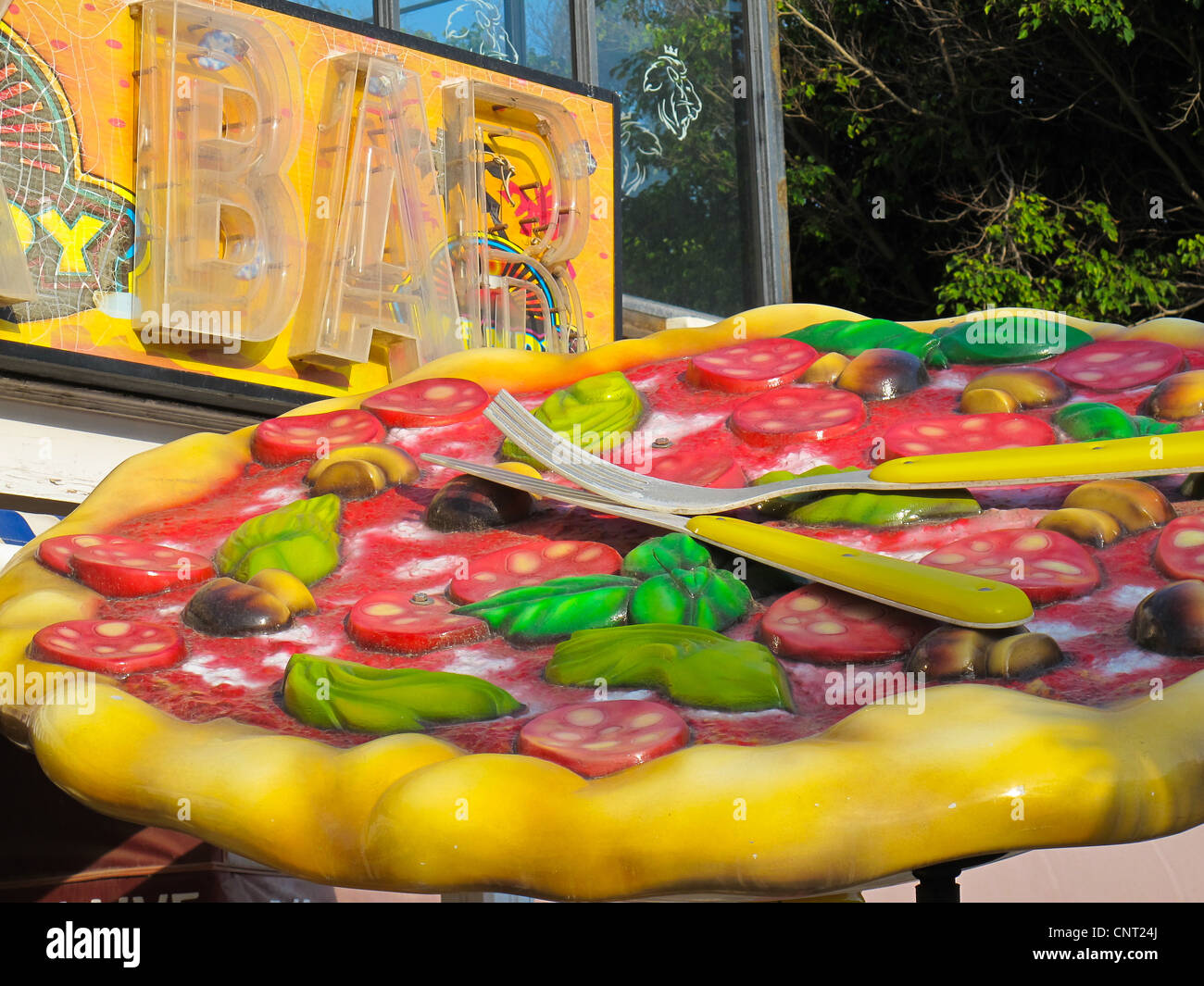 Plastic Pizza, bar, sign, Canary Islands, Holiday, Vacation, - Stock Image