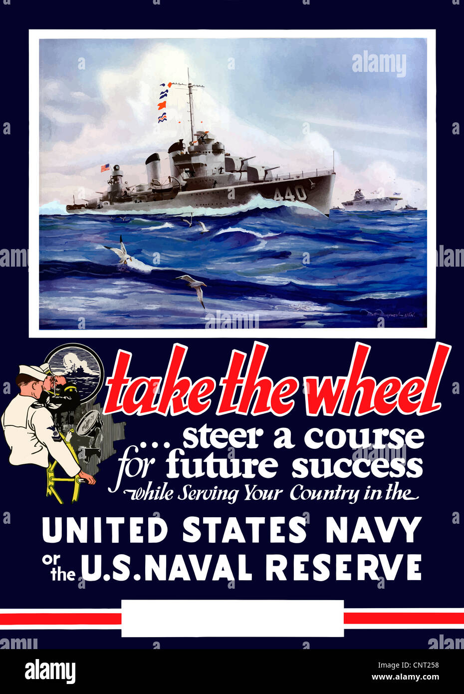 This vintage World War II Navy poster features US warships on the sea. - Stock Image