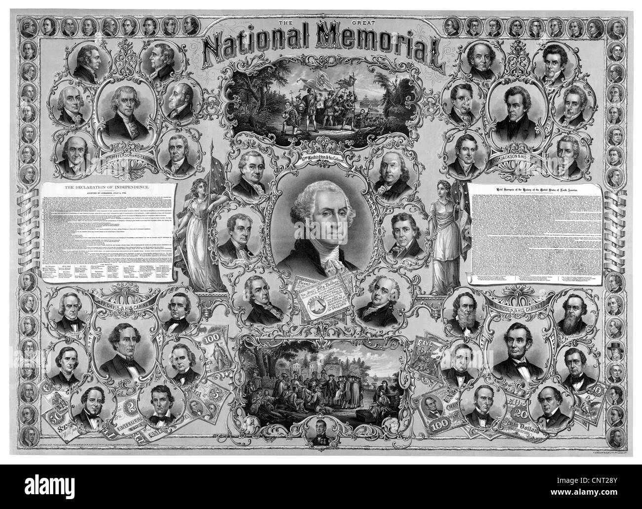 Digitally restored vintage American History print featuring great leaders from American history. - Stock Image