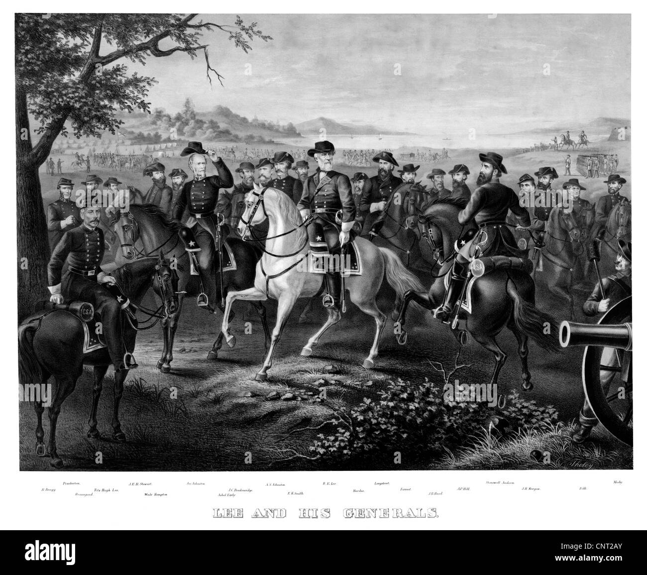Digitally restored Civil War print showing General Lee and other prominent Confederate Generals of the Civil War - Stock Image