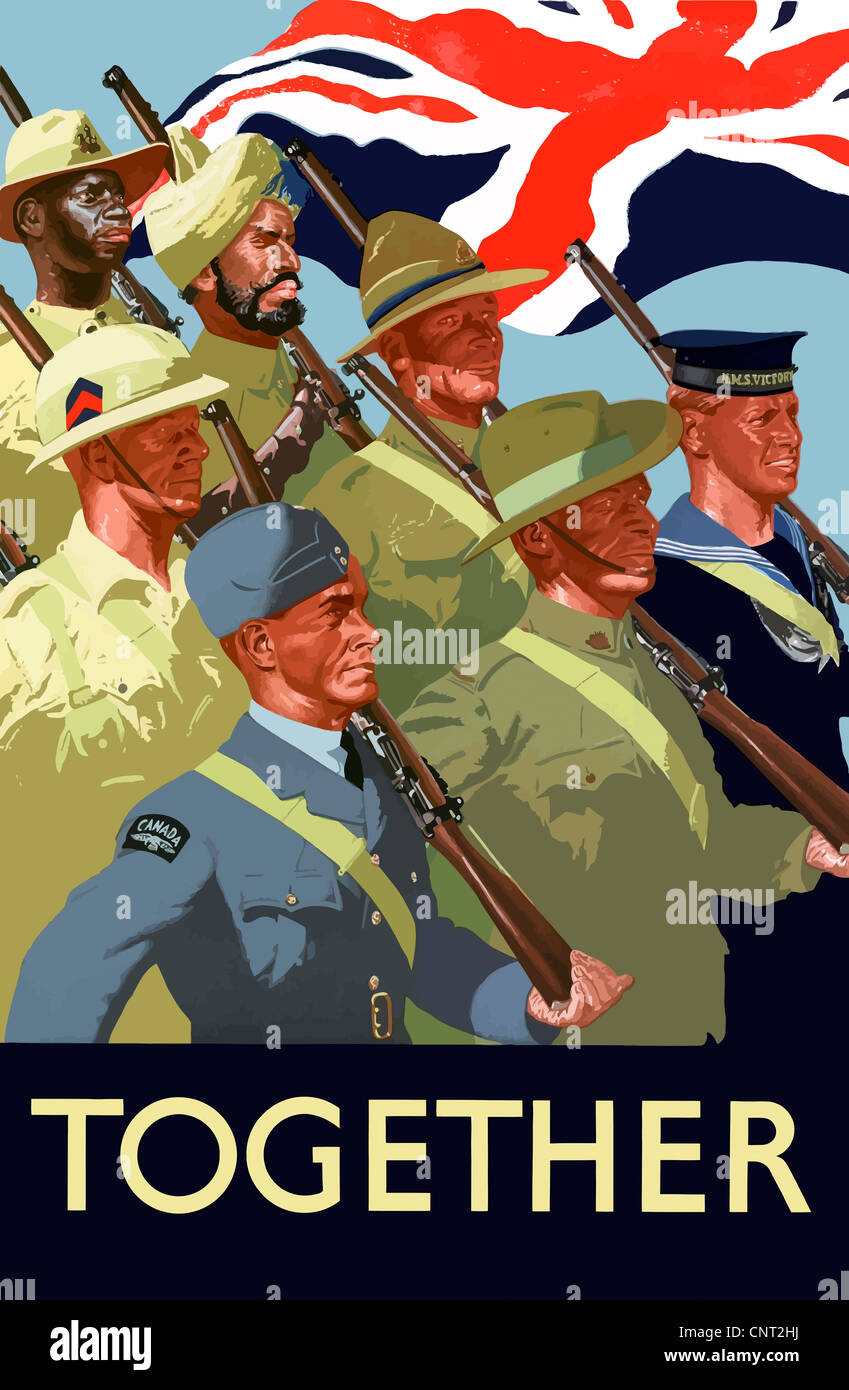 This vintage World War II poster features the troops of the ...