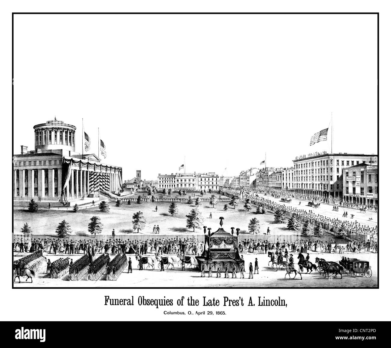 Digitallly restored vintage Civil War era print showing the funeral procession of President Lincoln. - Stock Image