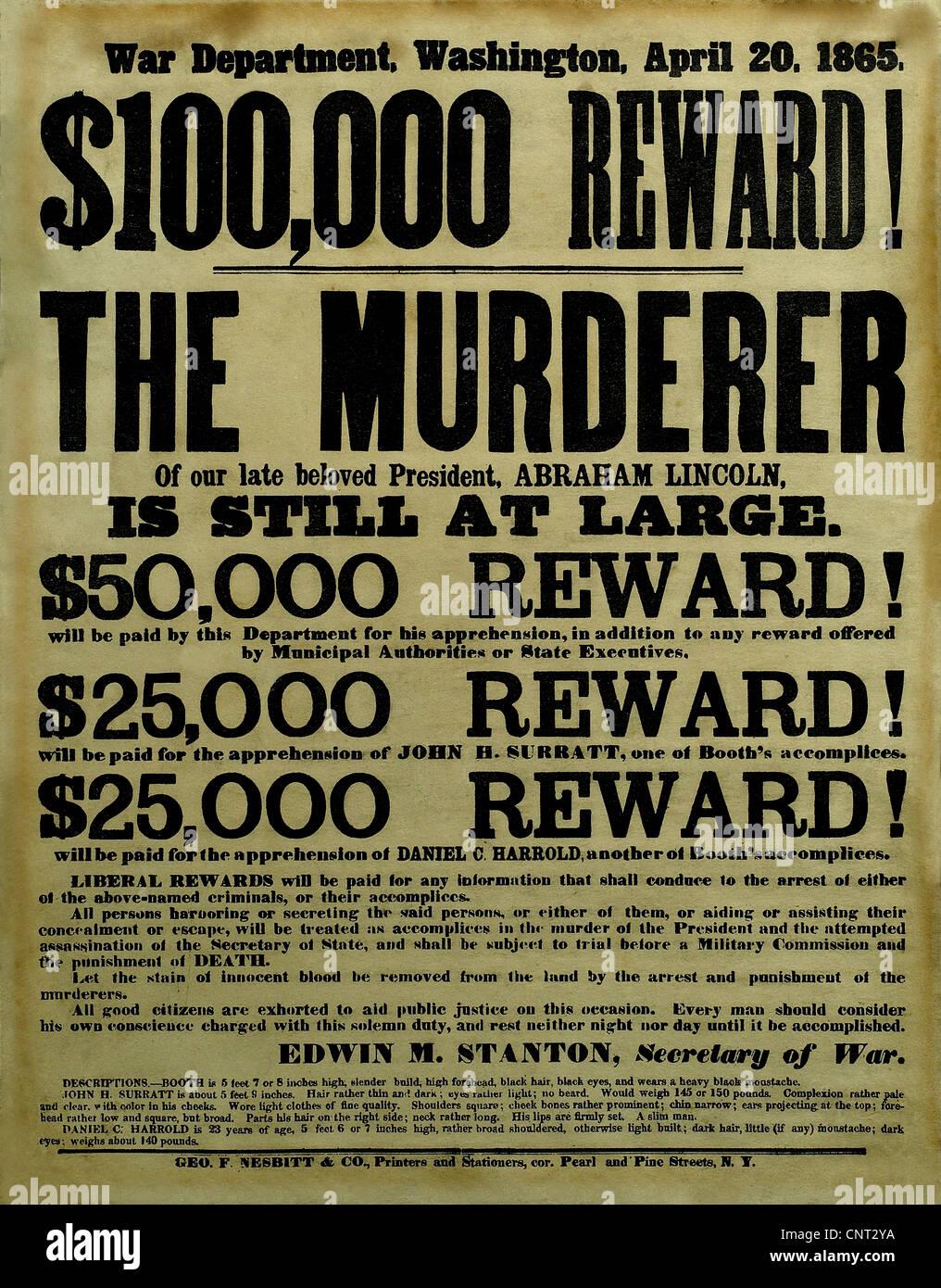Vintage Civil War poster offering a reward for the capture of President Abraham Lincoln's assassins. - Stock Image