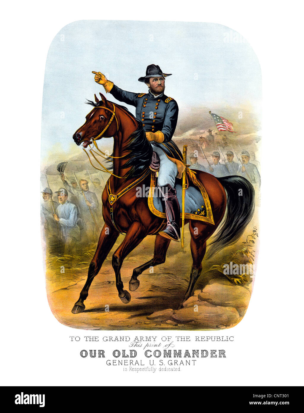 Vintage Civil War poster of General Ulysses S. Grant, on horseback, leading Union troops into battle. - Stock Image