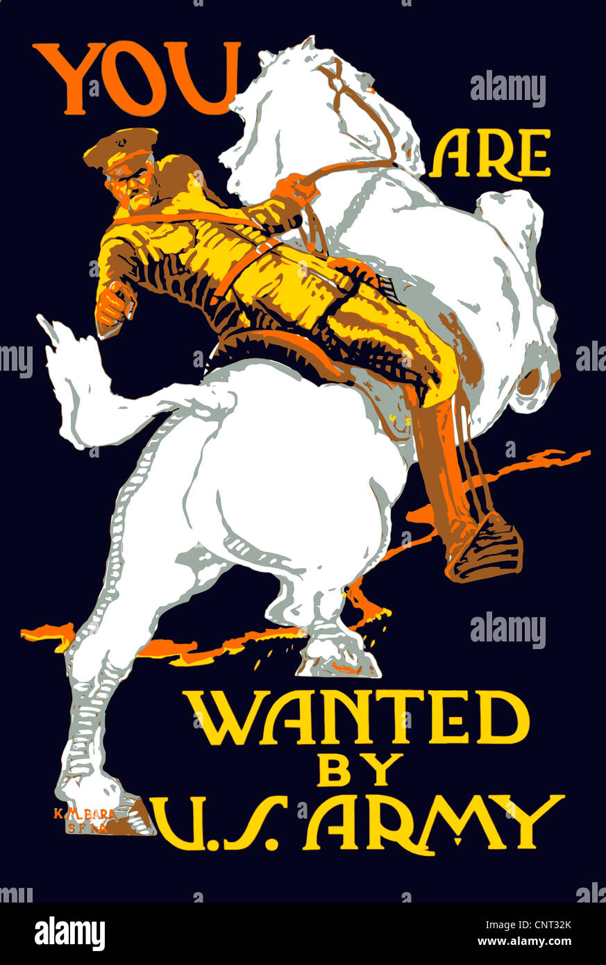 Vintage World War I poster of a U.S. Army officer on horseback, pointing at the viewer. It reads, You Are Wanted - Stock Image