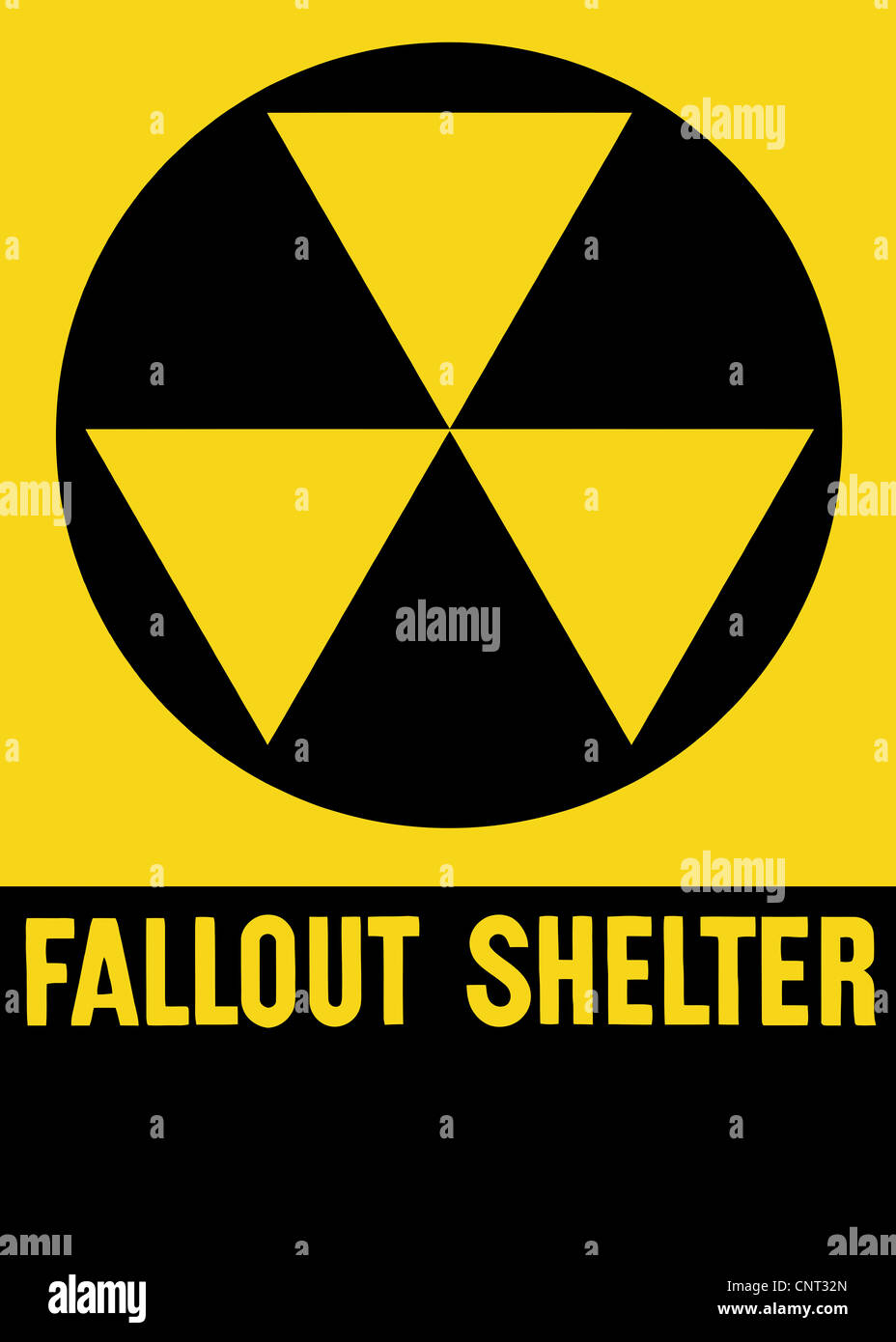 Cold War era fallout shelter sign. Stock Photo