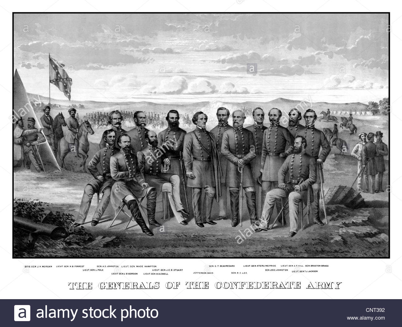 Vintage Civil War print featuring sixteen of The Confederate Army's top Generals in camp, as troops move in - Stock Image