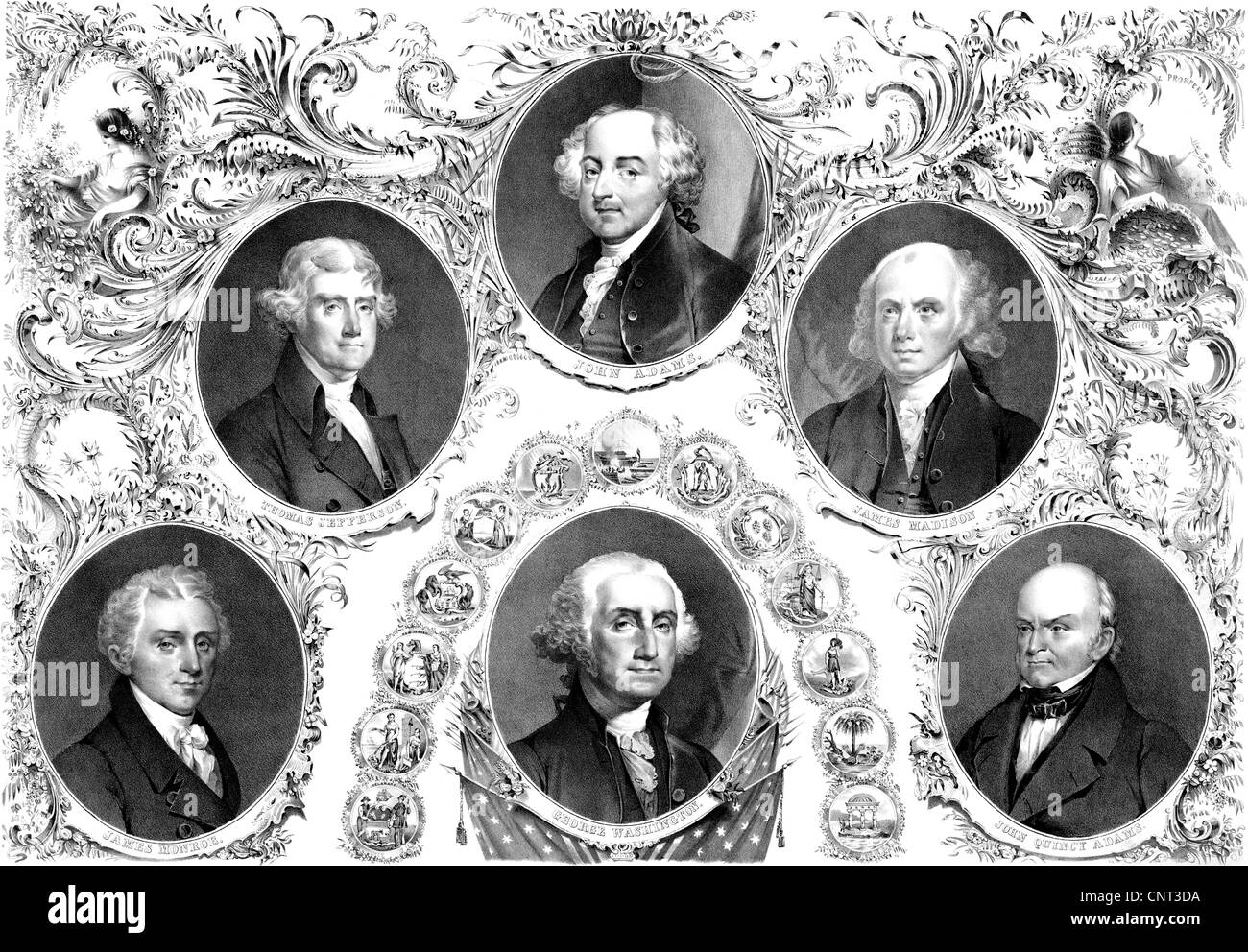 Vintage American history print showing the first six Presidents of The United States of America. - Stock Image