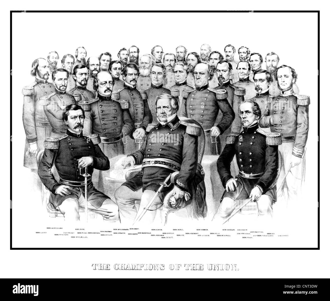 Vintage American Civil War print featuring a group portrait of early war Union Generals. - Stock Image