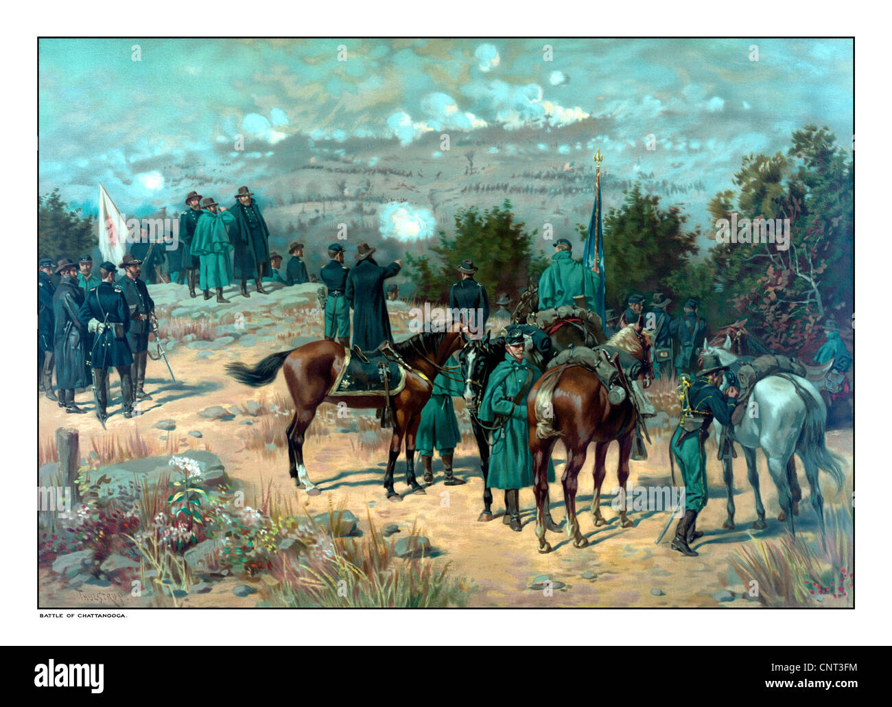 Vintage Civil War poster of the Battle of Missionary Ridge which took place during the Chattanooga Campaign. - Stock Image