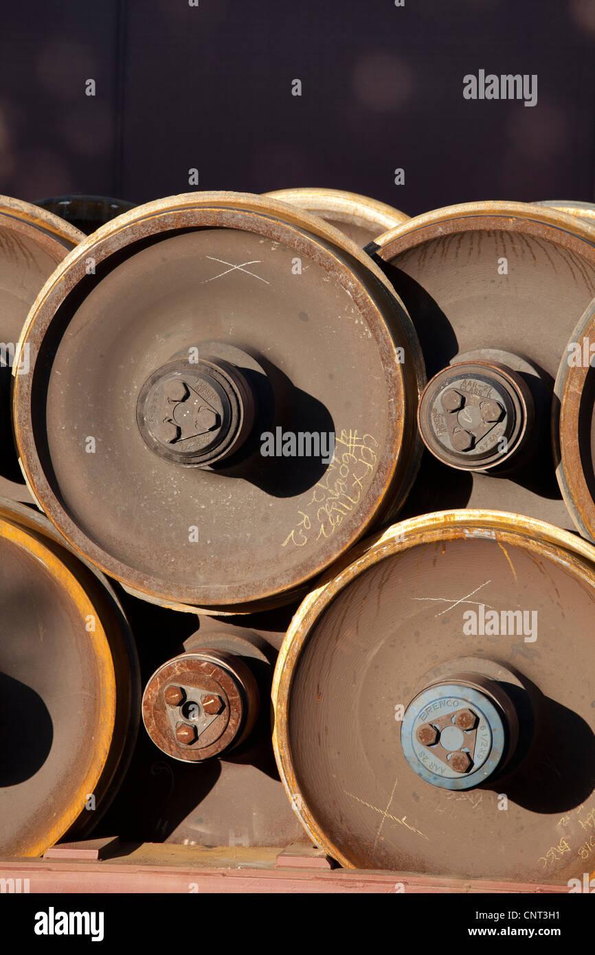 Stack of railroad car wheels - Stock Image