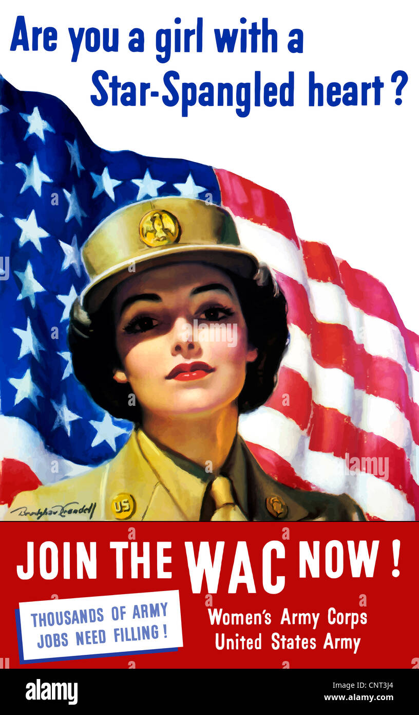 Vintage World War II poster of a member of The Women's Army Corps standing before the American flag. - Stock Image