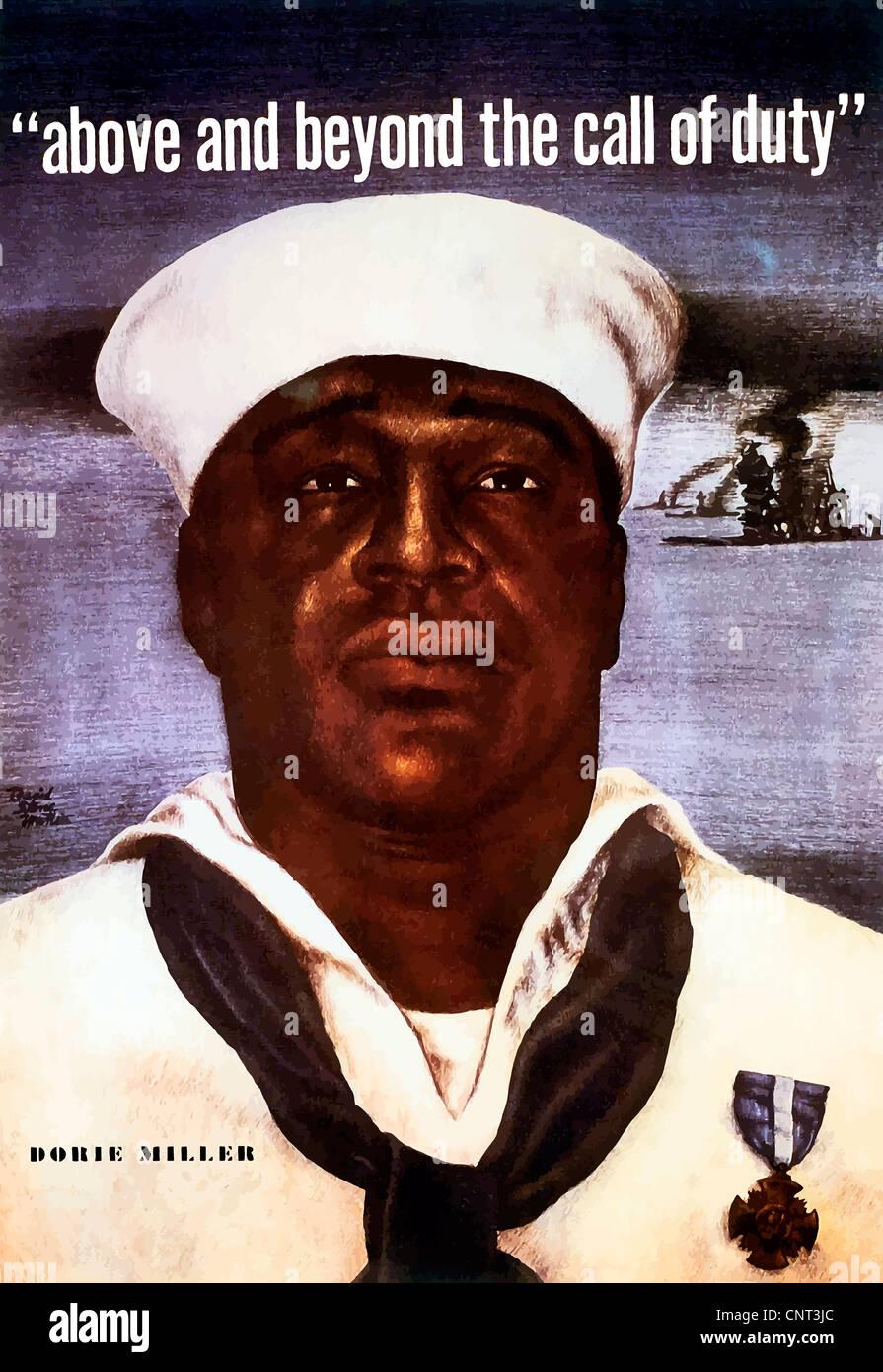 Digitally restored vector image of Doris Dorie Miller, a cook in the U.S. Navy. - Stock Image