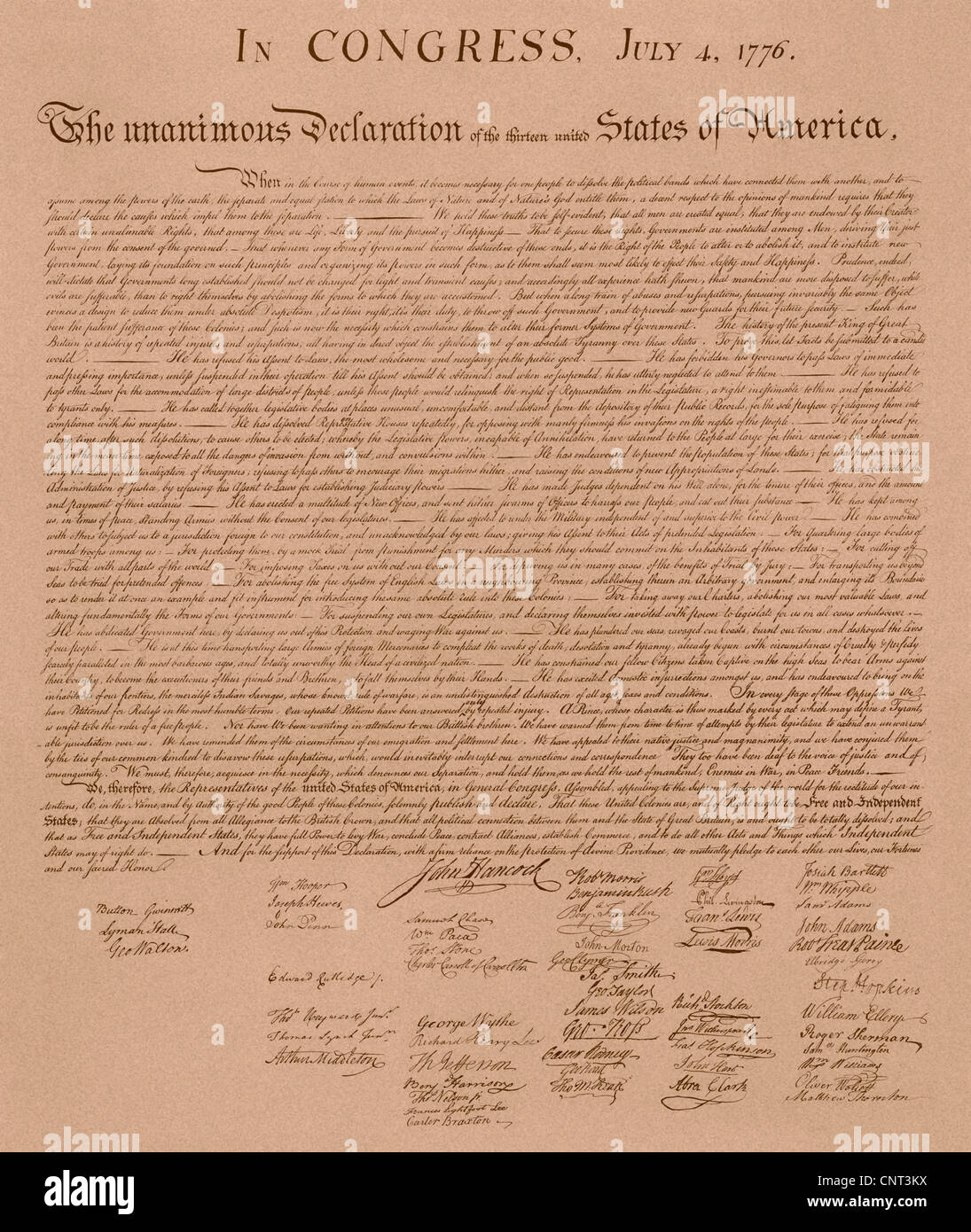 Vintage copy of The United States Declaration of Independence. - Stock Image