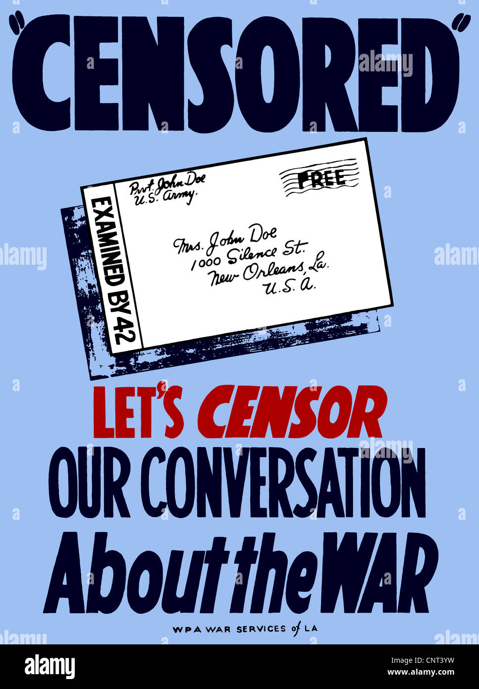 Vintage World War II poster showing a censored letter from Pvt. John Doe to his mother. - Stock Image