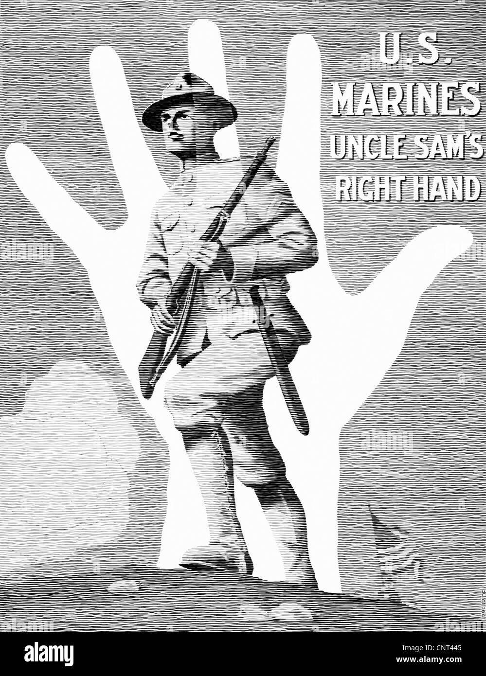 Vintage World War One poster showing a Marine soldier charging a hill, through the outline of a right hand. - Stock Image