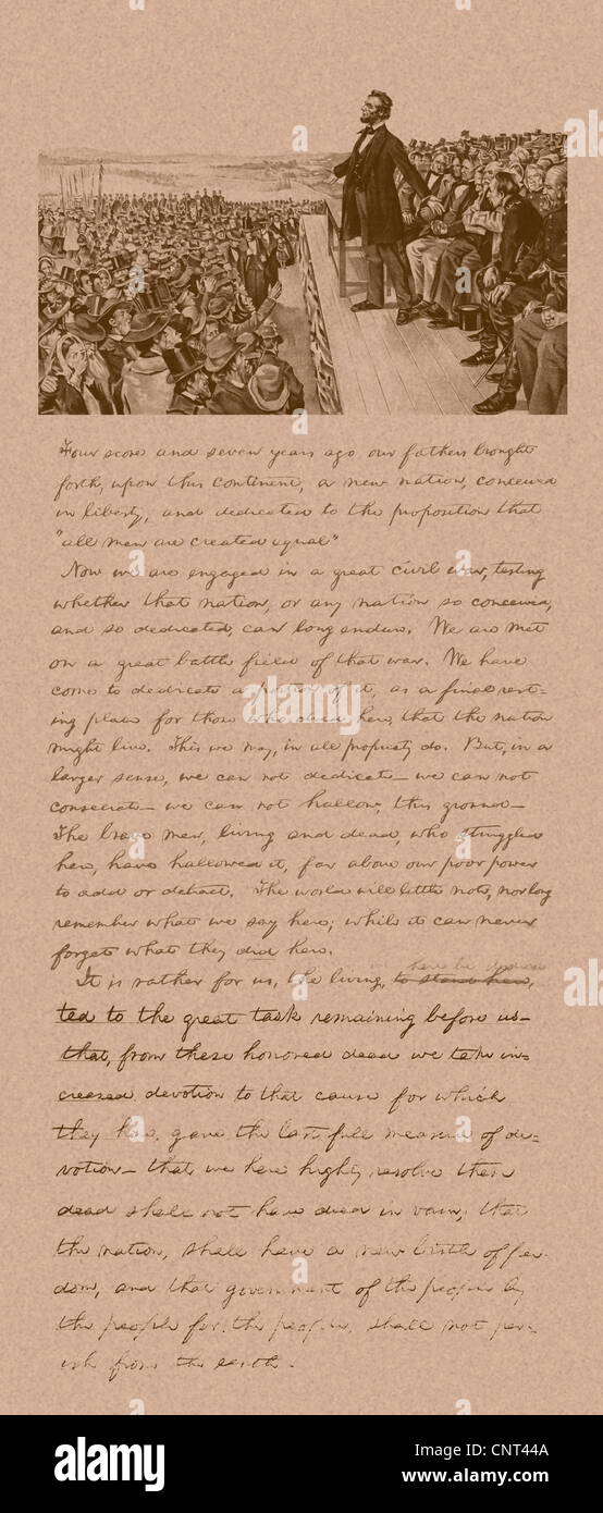 Vintage Civil War era print of President Abraham Lincoln delivering the Gettysburg Address and a copy of his notes. Stock Photo
