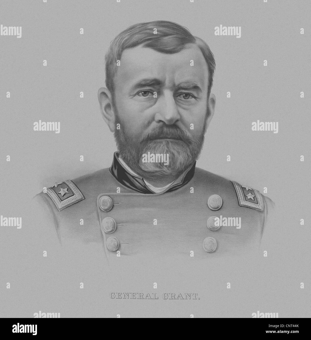 Vintage Civil War Print of General Ulysses S. Grant, wearing his military uniform. - Stock Image