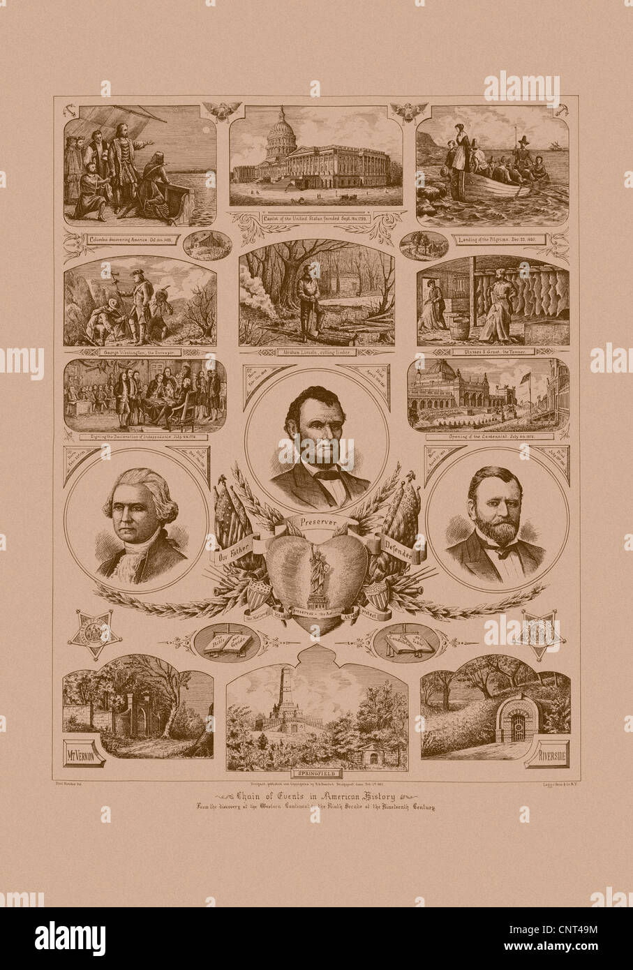 Vintage American history print featuring pictures of Presidents Ulysses S. Grant, Abraham Lincoln, and George Washington. - Stock Image