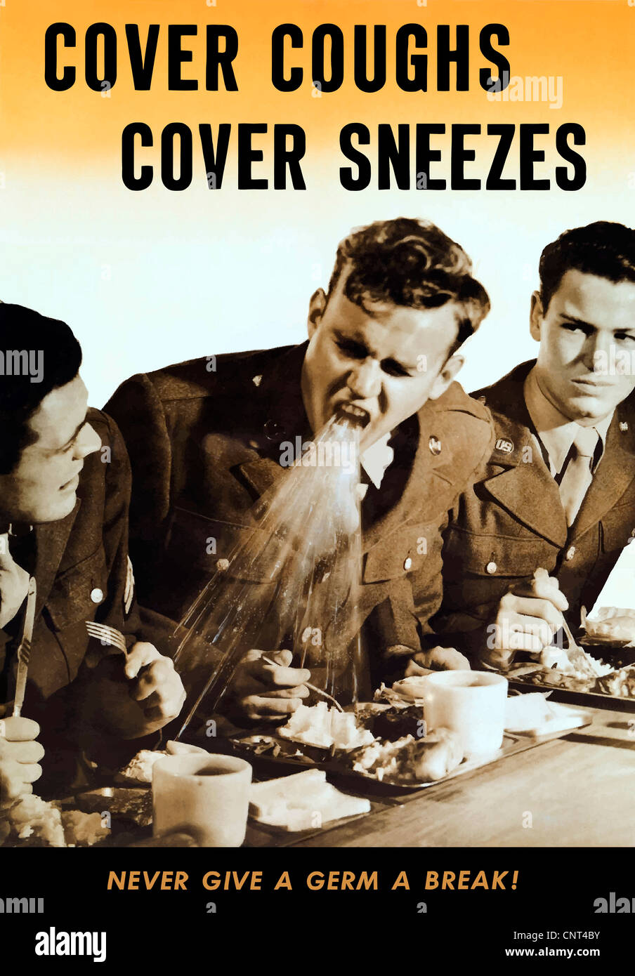 Vintage World War II poster of a soldier coughing on another soldier's food. Stock Photo