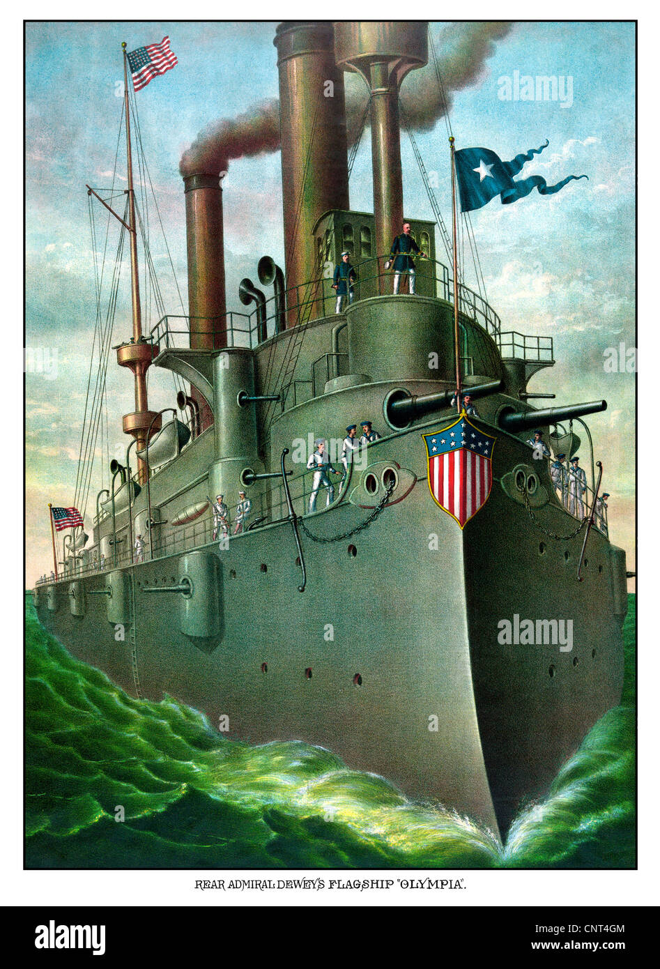 Vintage American History print of Admiral George Dewey standing on his flagship, the Olympia. - Stock Image