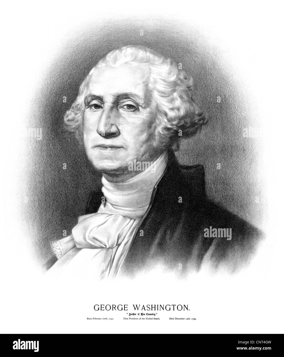 Vintage American History print of the bust of President George Washington. - Stock Image