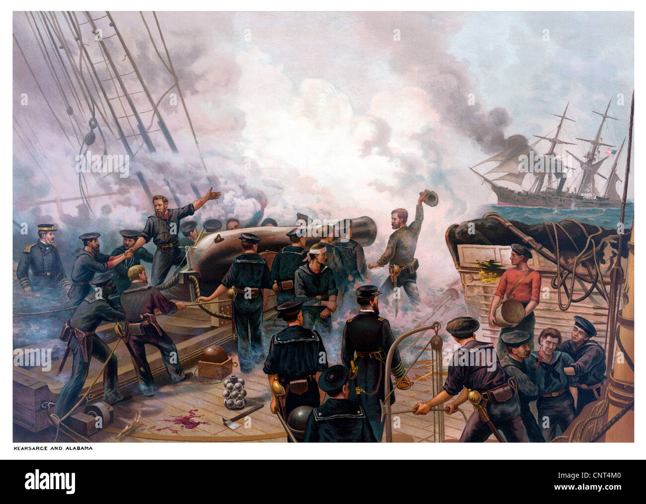 Vintage American Civil War print of The Battle of Cherbourg. - Stock Image