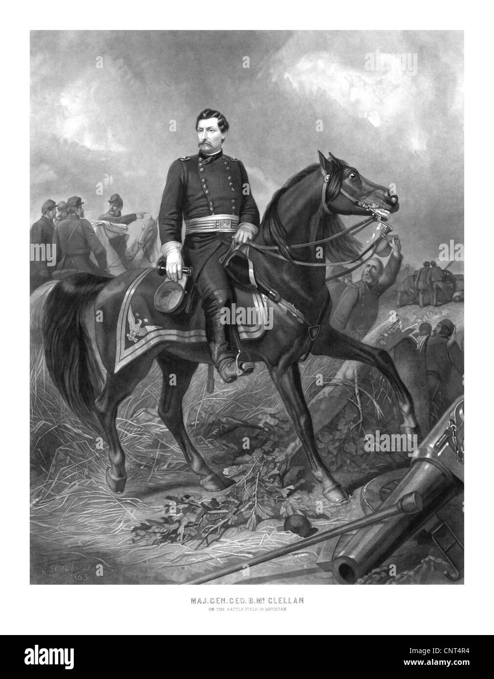 Vintage Civil War print of Union General George McClellan on horseback. Stock Photo
