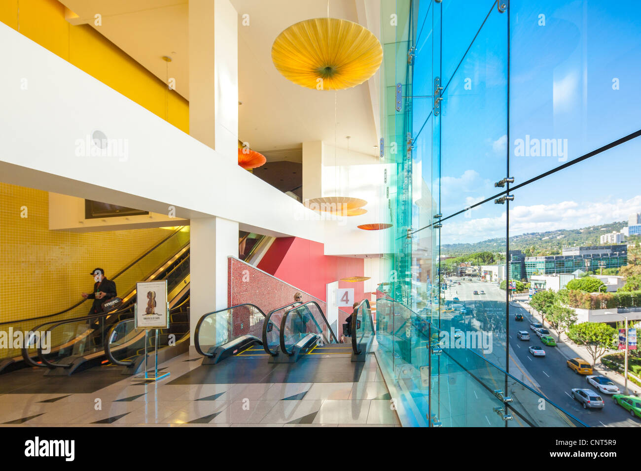 Beverly Hills Center Centre shopping mall Los Angeles. View from the escalators towards the corner of Beverly & - Stock Image