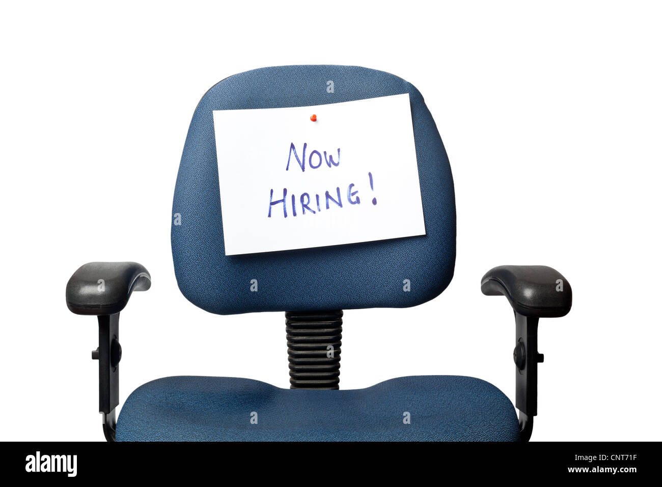 Office chair with a NOW HIRING sign isolated on white background - Stock Image