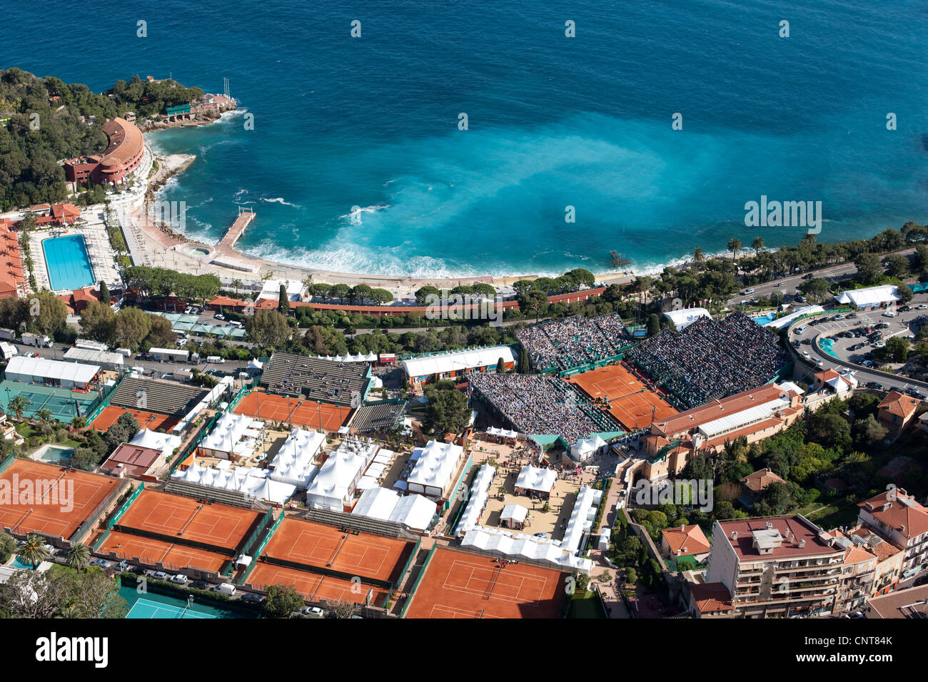 MONTE-CARLO ROLEX MASTERS 2012. This tennis tournament actually takes place in picturesque Roquebrune-Cap-Martin, - Stock Image