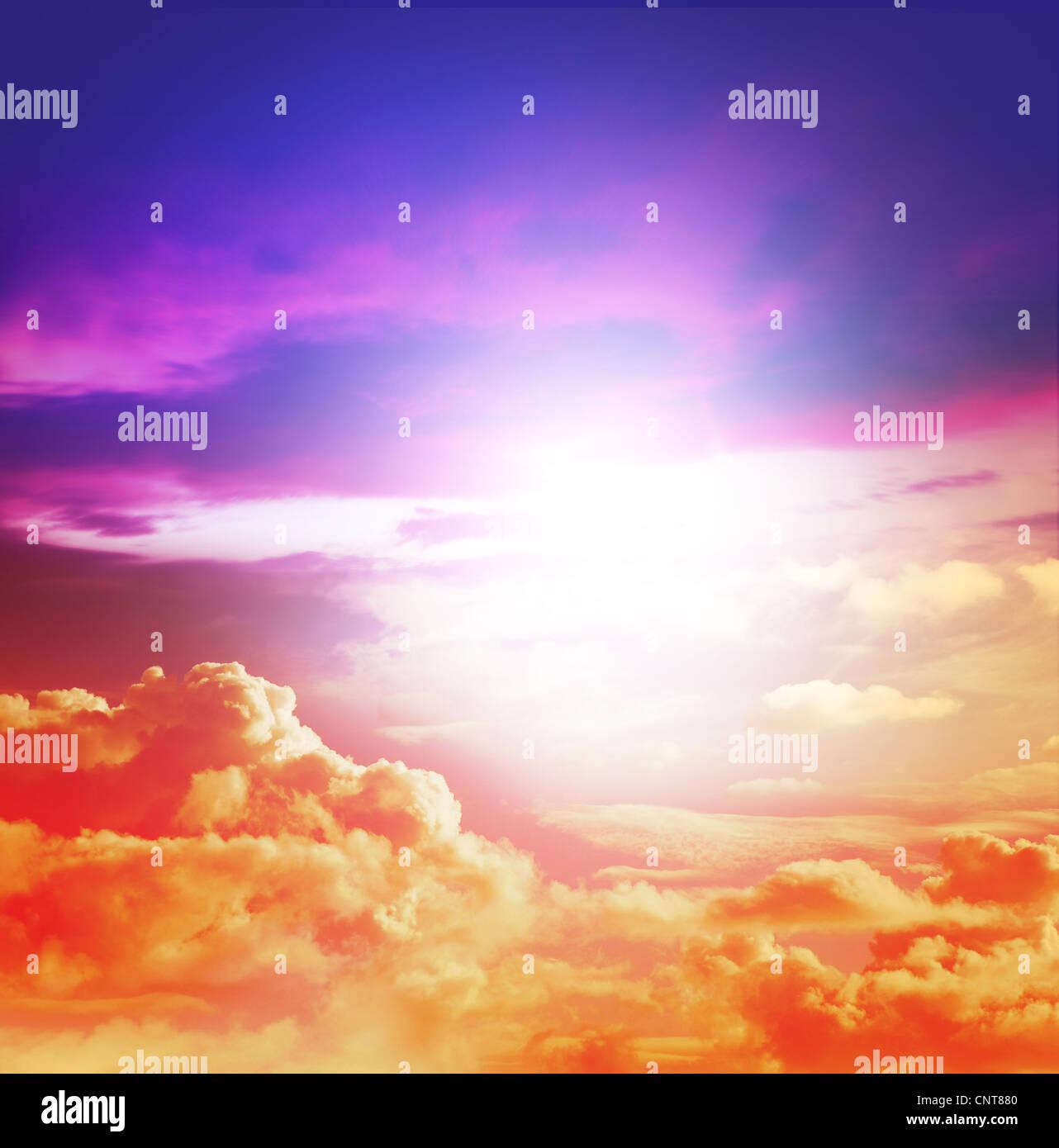 sunlight colourful sky - Stock Image