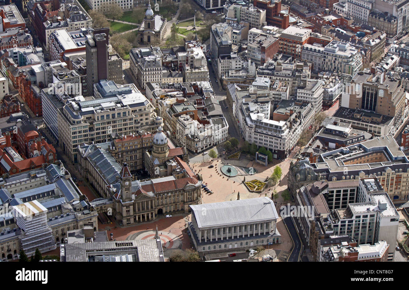 aerial view of Birmingham City Centre, Victoria Square, Museum and Art Gallery, International Convention Centre - Stock Image