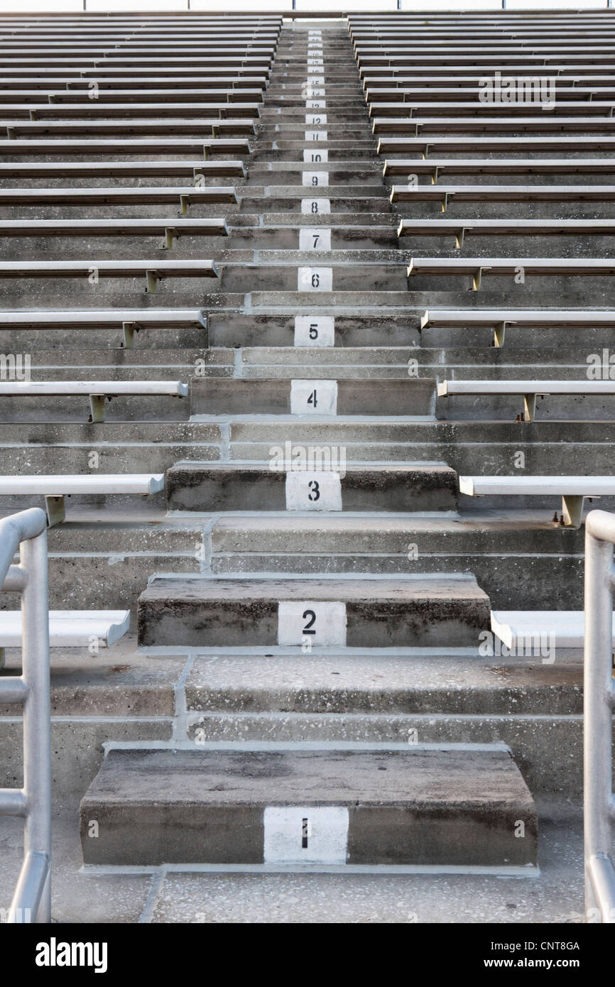 Empty stadium bleachers - Stock Image