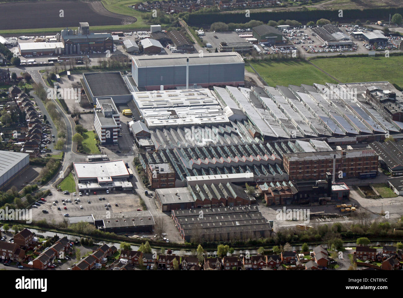 aerial view of factories on Beech Avenue, just off the A38, Burton on Trent, Staffordshire Stock Photo