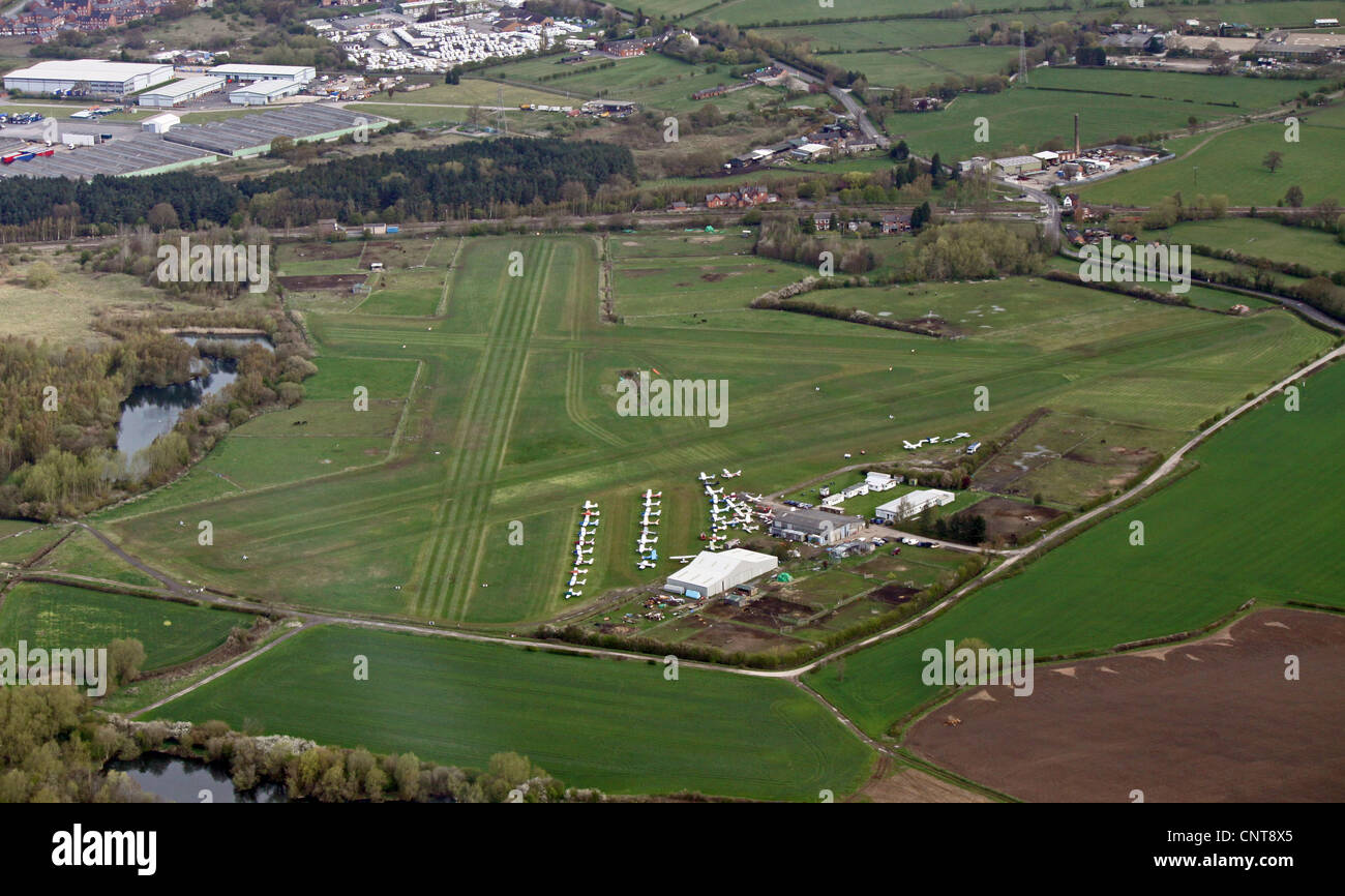 aerial view of Derby airfield grass airstrip - Stock Image