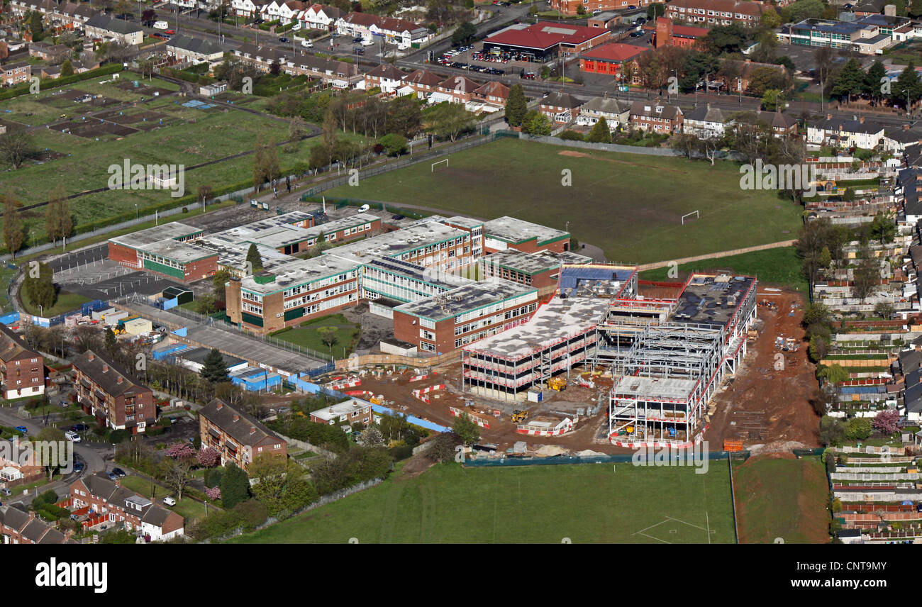 aerial view of a school extension under construction - Stock Image