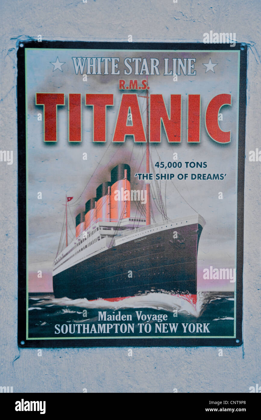 A Poster advertising the Maiden Voyage of the Titanic ...