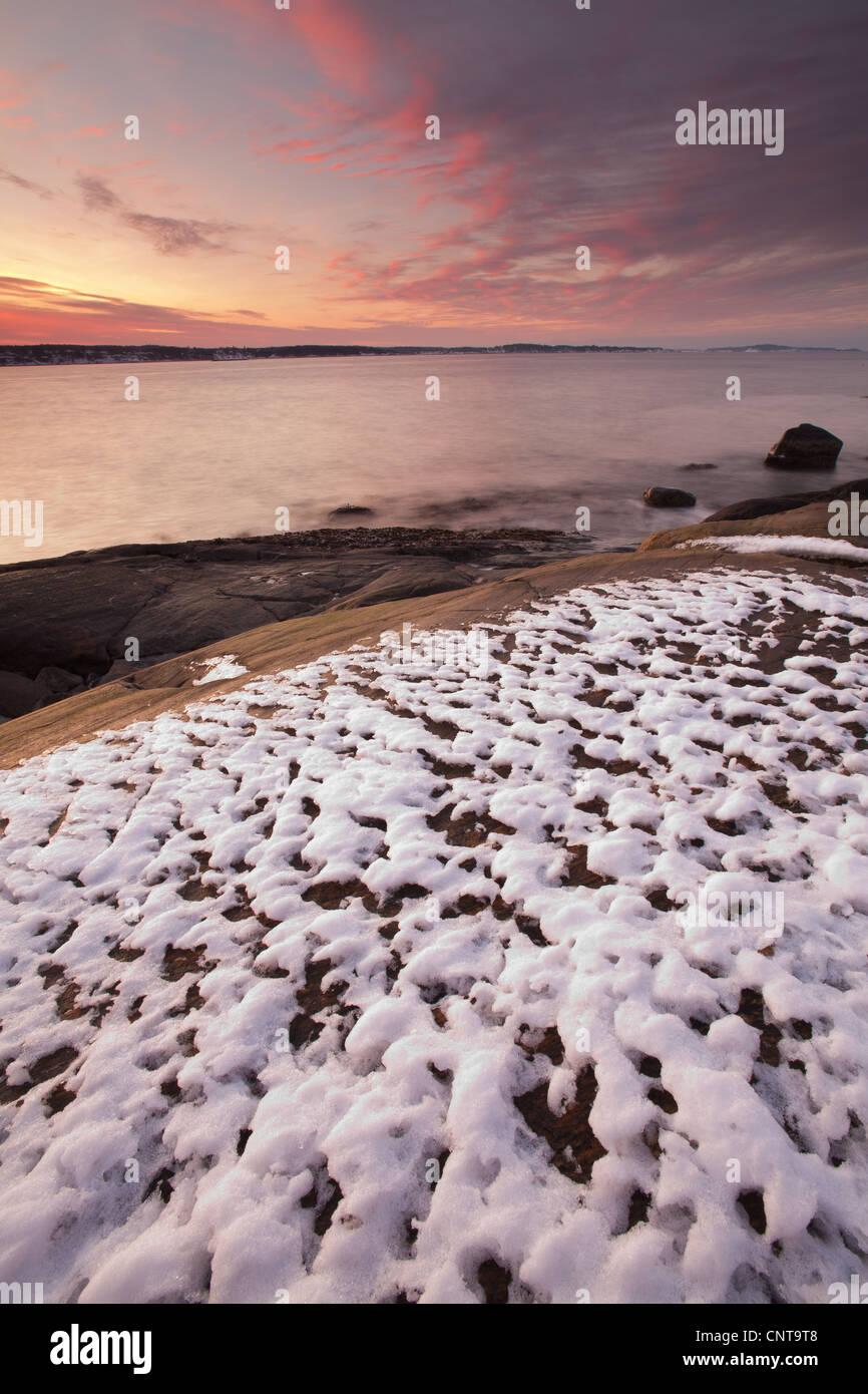 Beautiful daybreak at Oven in Råde kommune, Østfold fylke, Norway. - Stock Image