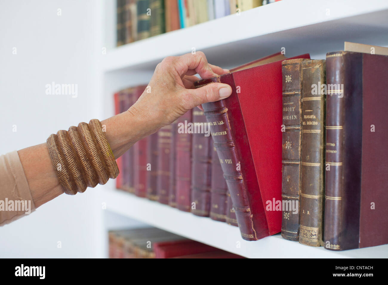 Woman choosing book from bookshelf, cropped - Stock Image