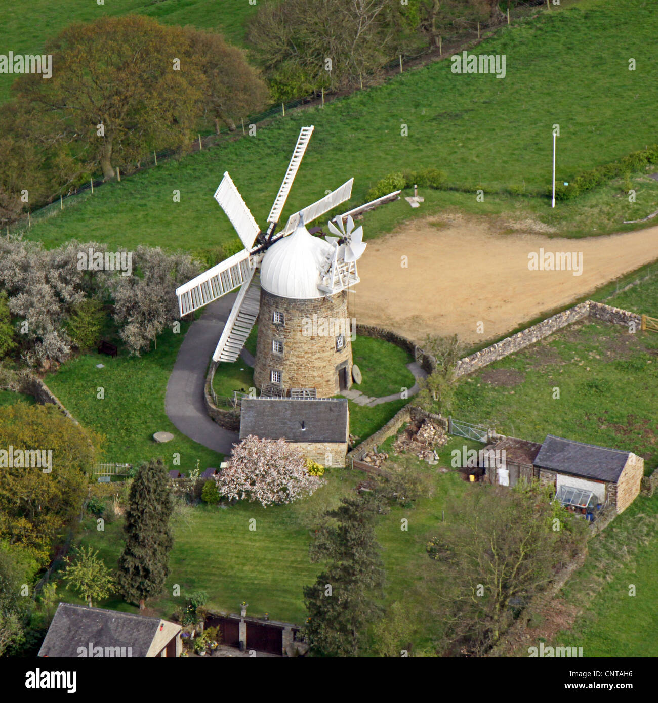 aerial view of a windmill which is a private house - Stock Image