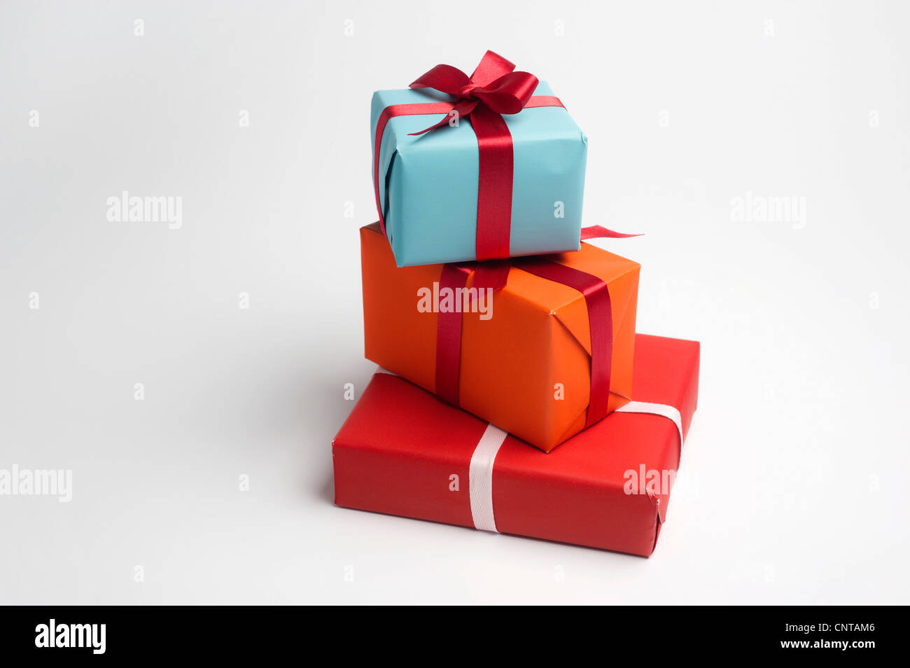 Festively wrapped gifts - Stock Image