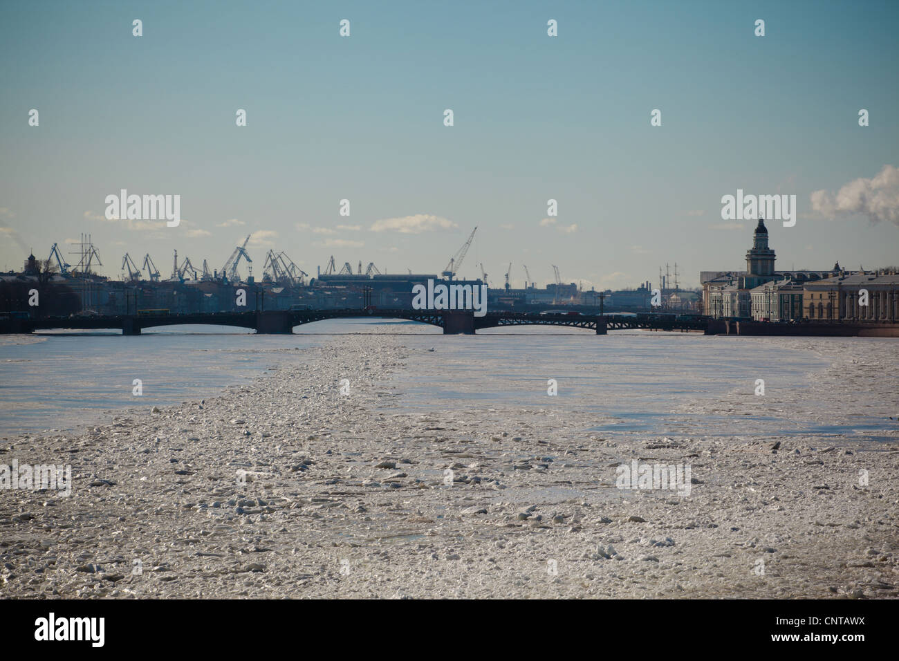 Russia, Saint-Petersburg,The Kunstkamera , the Peter the Great Museum of Anthropology and Ethnography, Palace Bridge,winter - Stock Image