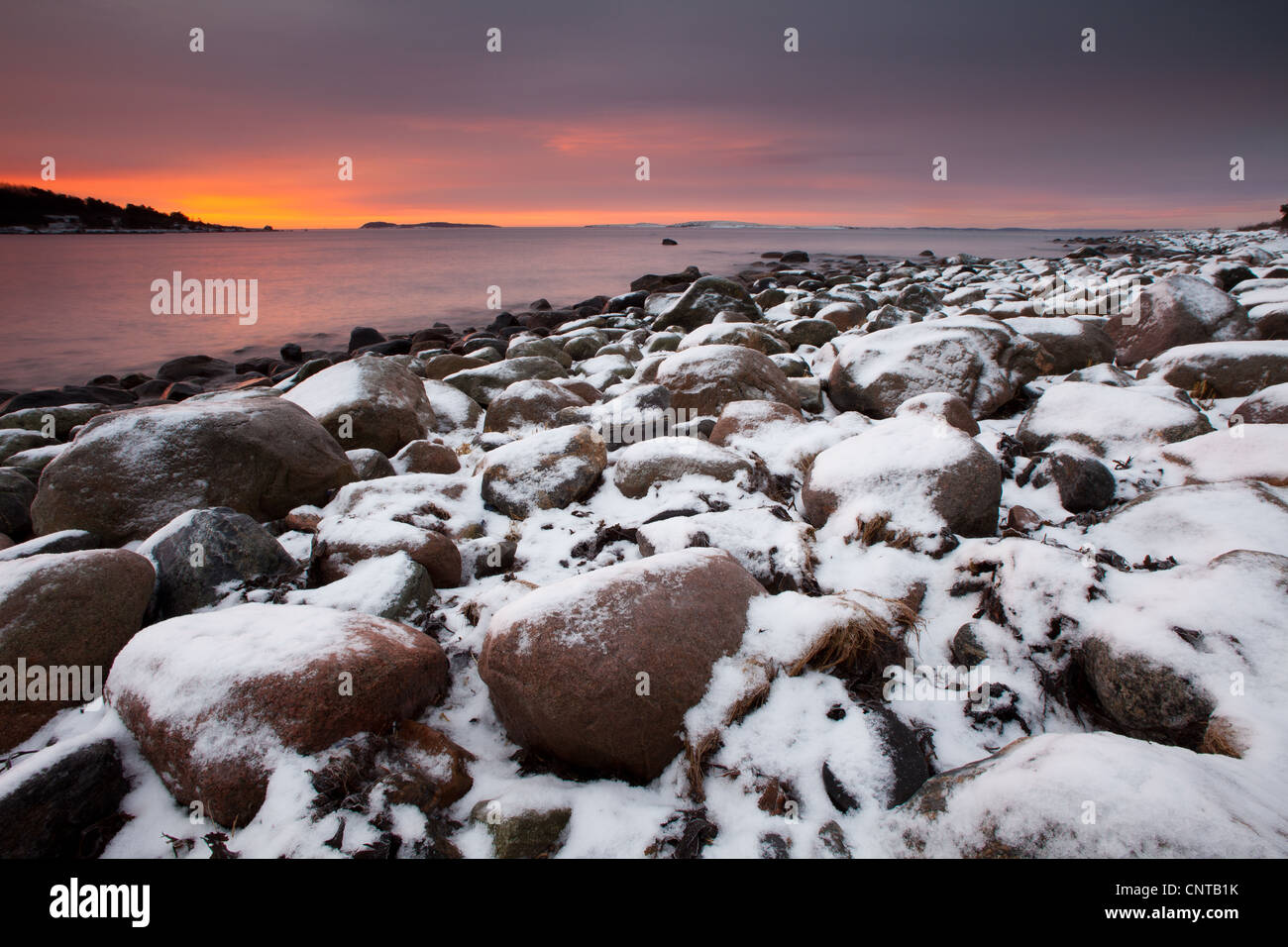 Daybreak at Larkollen in Rygge, Østfold fylke, Norway. - Stock Image