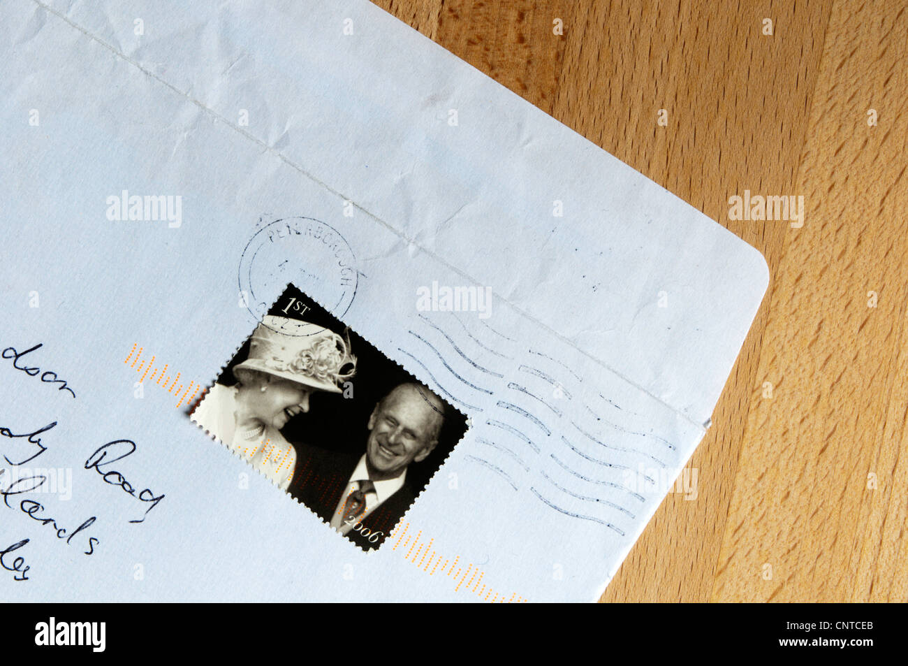 Stamp commemorating the Queen and Prince Philip's 60th (Diamond) Wedding Anniversary on 20th November 2007. - Stock Image