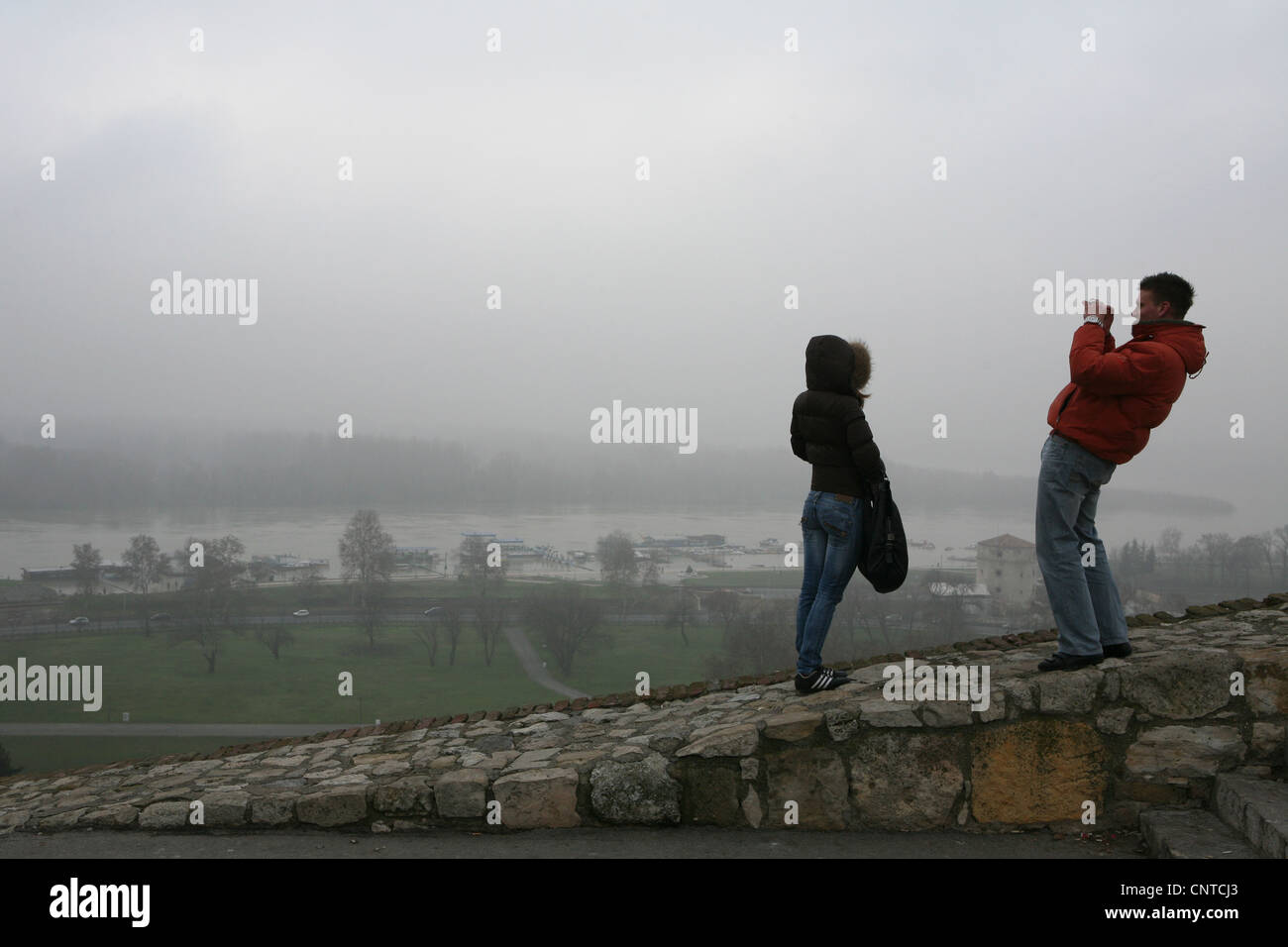 View to the confluence of the Sava River and the Danube from the Kalemegdan Fortress in Belgrade, Serbia. - Stock Image