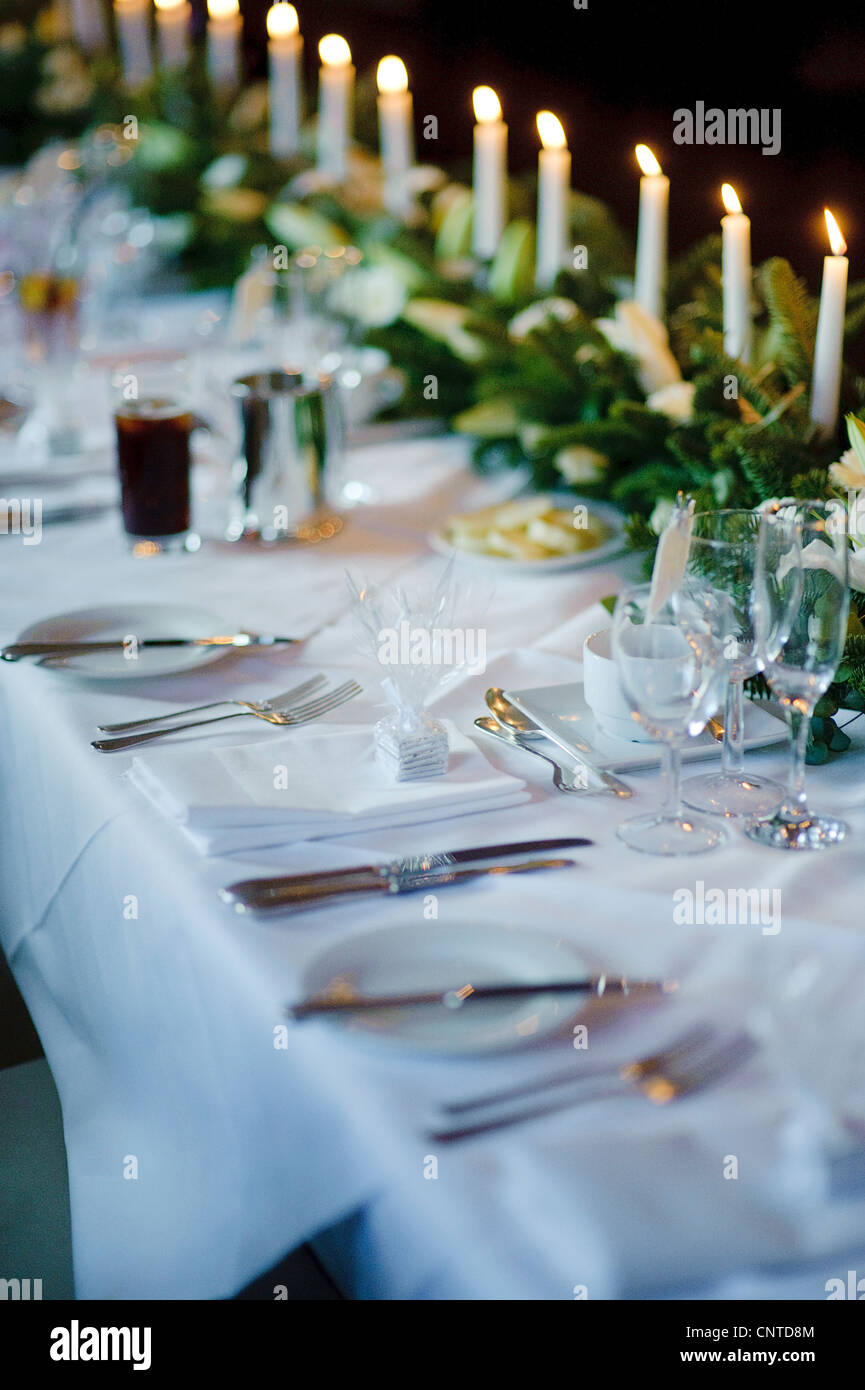 Wedding Breakfast Reception Tables With Candles Gifts Favours And
